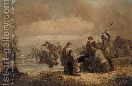 Skaters on a frozen lake by Dutch School - Reproduction Oil Painting