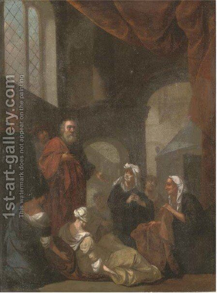 St. Peter and Tabatha by Dutch School - Reproduction Oil Painting