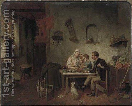 The family supper by Dutch School - Reproduction Oil Painting