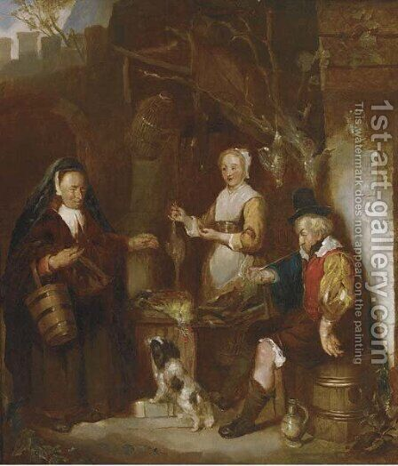 The poultry seller by Dutch School - Reproduction Oil Painting