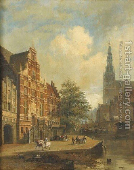 View of a Dutch town by Dutch School - Reproduction Oil Painting