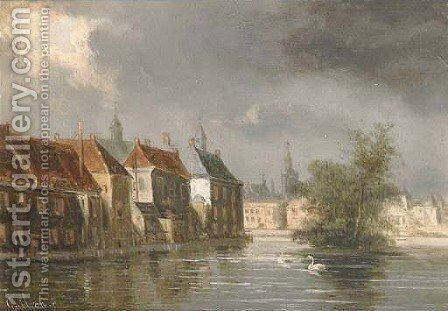 View of the Hofvijfer, The Hague by Dutch School - Reproduction Oil Painting