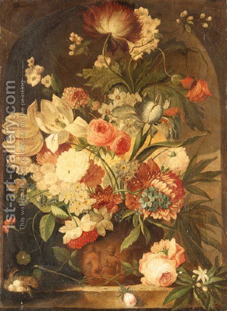 A flower still life with a bird's nest on a marble ledge by Dutch School - Reproduction Oil Painting