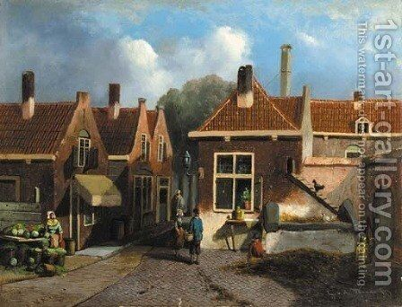 A view in a village by Dutch School - Reproduction Oil Painting
