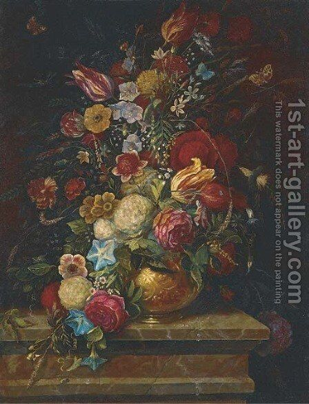 Tulips, roses, chrysanthemums by Dutch School - Reproduction Oil Painting