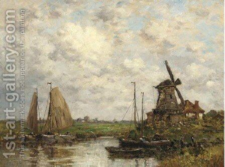 Barges moored before a windmill in a Dutch landscape by Dutch School - Reproduction Oil Painting