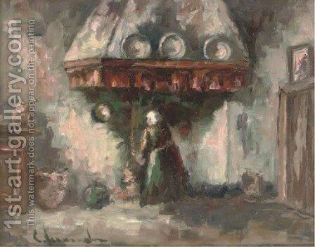 In the scullery by Dutch School - Reproduction Oil Painting