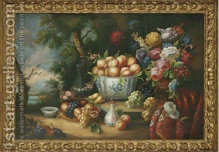 Peaches in a bowl, with tulips, peonies and other flowers in a vase by Dutch School - Reproduction Oil Painting