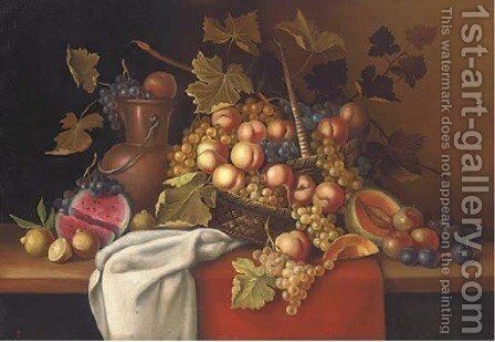 Still life of melons, plums, lemons, grapes and peaches in a basket, on a table by Dutch School - Reproduction Oil Painting