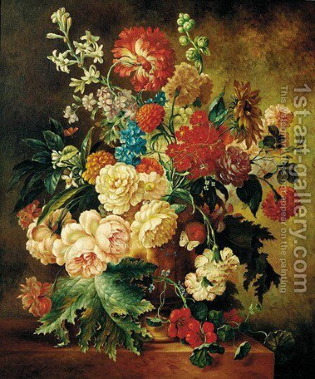 Summer flowers in an urn on a ledge by Dutch School - Reproduction Oil Painting