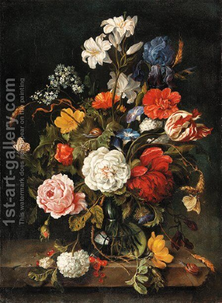 Roses, lilies, a parrot tulip, an iris and other flowers in a glass vase by Dutch School - Reproduction Oil Painting