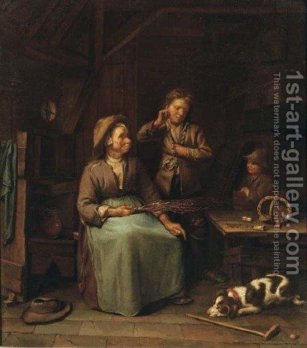 A peasant woman with two boys in an interior by Dutch School - Reproduction Oil Painting