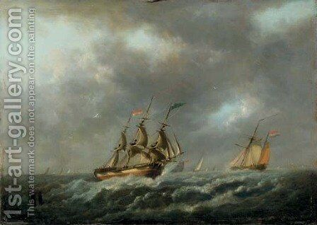 Sailing vessels in a stiff breeze by Dutch School - Reproduction Oil Painting