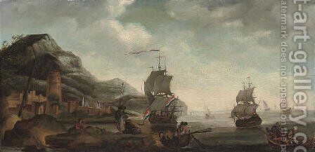 A coastal inlet with fishermen in the foreground, shipping beyond by Dutch School - Reproduction Oil Painting
