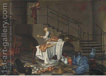 A kitchen maid and a servant in an interior by Dutch School - Reproduction Oil Painting