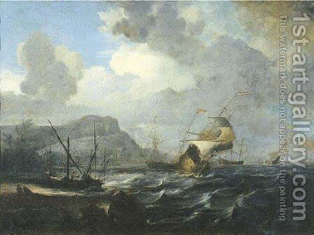 A coastal landscape with Dutch frigates in a fresh breeze by Dutch School - Reproduction Oil Painting