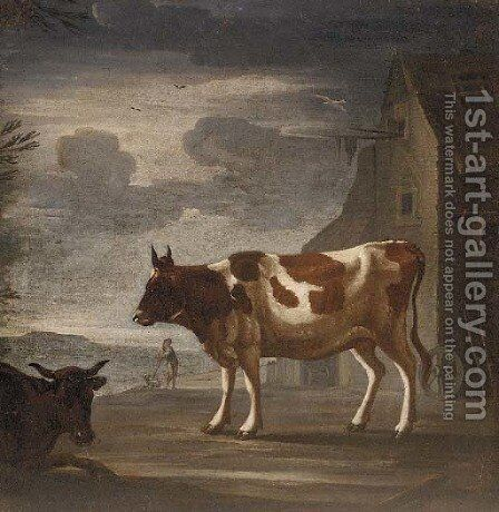 Two cows in front of a barn, a herder with a dog beyond by Dutch School - Reproduction Oil Painting