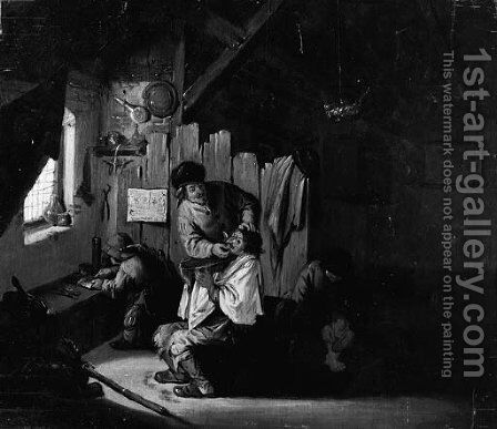 A Boor Treated By A Quack In A Barn by Dutch School - Reproduction Oil Painting