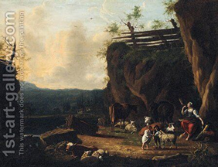 A shepherd and his family on a river bank by Dutch School - Reproduction Oil Painting