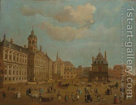 Numerous townfolk on the Damsquare, Amsterdam by Dutch School - Reproduction Oil Painting