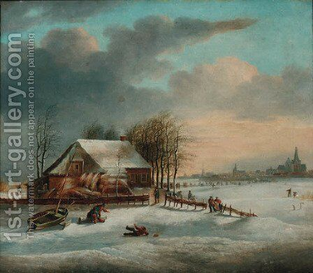 A winter landscape with figures skating on a frozen lake by Dutch School - Reproduction Oil Painting