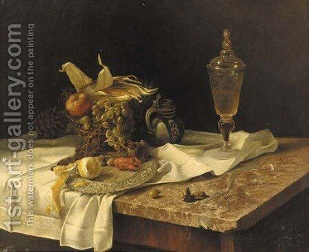 A lobster, fruit, a jug and a vessel of wine on a marble table by Dutch School - Reproduction Oil Painting