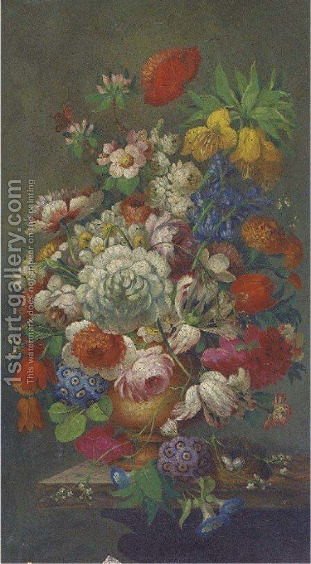 Roses, tulips, apple blossom, honeysuckle, narcissae and other summer flowers in a ewer by a birds' nest on a marble plinth by Dutch School - Reproduction Oil Painting
