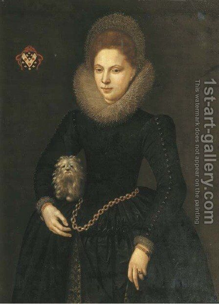 Portrait of a lady, three-quarter-length, in a black silk dress with a white lace collar by Dutch School - Reproduction Oil Painting