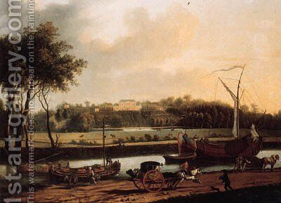 A carriage on a road by a canal, a country mansion on a hilltop beyond by Dutch School - Reproduction Oil Painting