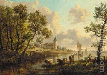 A river landscape with a herdsman and a herdswoman resting by their cattle, boats sailing and a castle beyond by Dutch School - Reproduction Oil Painting