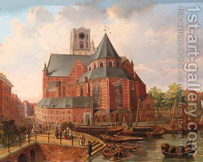 A view of Rotterdam with townsfolk gathered on a quay by a church by Dutch School - Reproduction Oil Painting