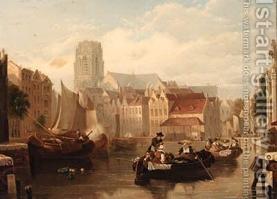 Figures in barges on a Dutch canal by Dutch School - Reproduction Oil Painting