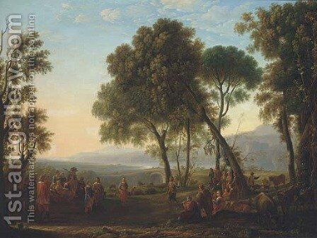 Newly-weds in a classical landscape by Dutch School - Reproduction Oil Painting