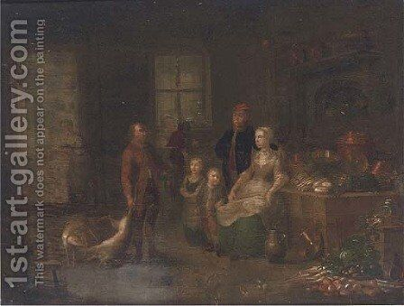 Preparing for the banquet by Dutch School - Reproduction Oil Painting