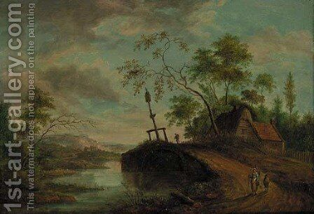 Travellers On A Track In A River Landscape by Dutch School - Reproduction Oil Painting