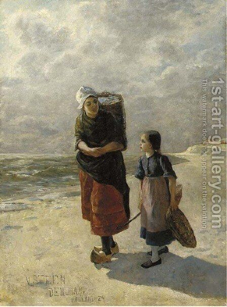 Conversation on the beach by Dutch School - Reproduction Oil Painting