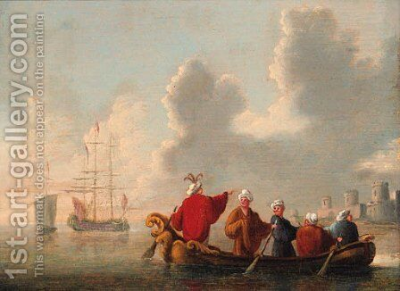 Orientals in a rowing boat, a man-o'-war and a coastal fort beyond by Dutch School - Reproduction Oil Painting