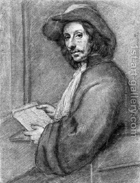 Portrait of a man, half-length, holding a letter by Dutch School - Reproduction Oil Painting