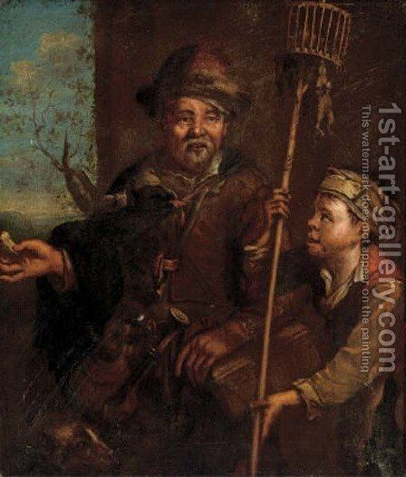 A rat catcher by Dutch School - Reproduction Oil Painting