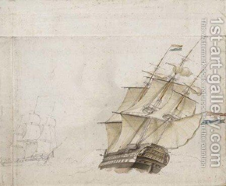 Two Dutch frigates in a high wind by Dutch School - Reproduction Oil Painting
