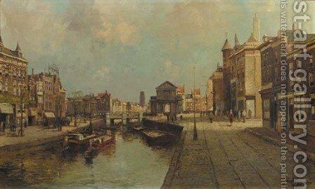 A view of Rotterdam by Dutch School - Reproduction Oil Painting