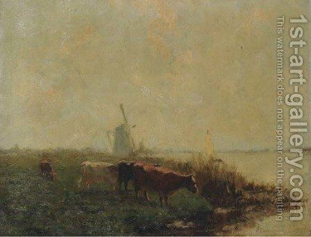 Cows in a polder landscape by Dutch School - Reproduction Oil Painting