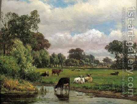 Cows in a meadow, with a village in the distance by Dutch School - Reproduction Oil Painting