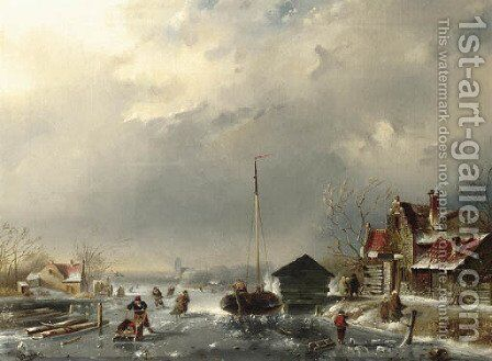 Skaters on a frozen waterway by a village by Dutch School - Reproduction Oil Painting