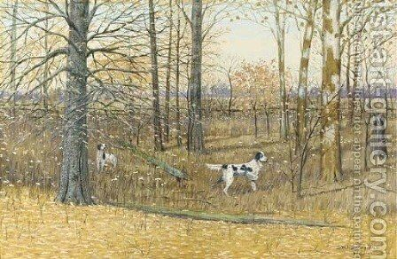 English Setters in a wood by Dwight W. Huntington - Reproduction Oil Painting