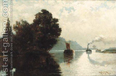 Barges on a river by Edward Aubrey Hunt - Reproduction Oil Painting