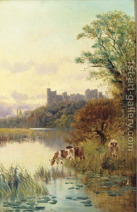 Cattle watering before a castle by Edward Aubrey Hunt - Reproduction Oil Painting