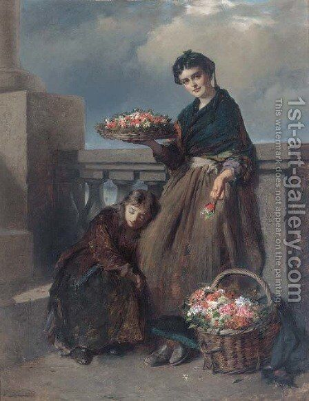 A penny a posy by Edward Charles Barnes - Reproduction Oil Painting