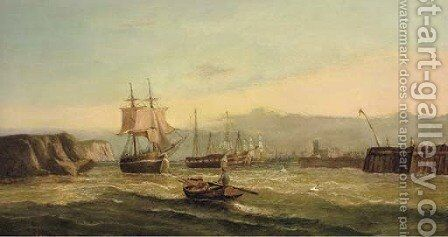 A trading brig and hulks at the harbour mouth by Edwin Hayes - Reproduction Oil Painting