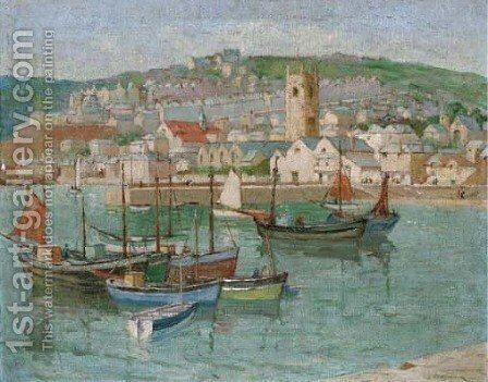 Fishing vessels moored in a Cornish harbour by Edith Mary Garner - Reproduction Oil Painting